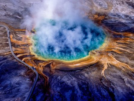 Morning Glory Pool is a hot spring in the Upper Geyser Basin of Yellowstone National Park in the United States.jpg